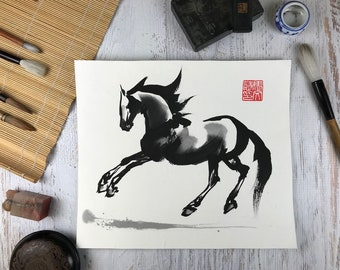 "Horse Art original - ""Airborne"" - Chinese Brush Painting"