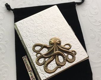 Corner Octopus Cigarette Case Chrome Silver Case Large Brass Octopus Mixed Metals Large Card Holder Metal Wallet Nautical Steampunk Wallet