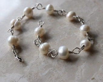 Freshwater Pearl - White - Sterling Silver - Wire Wrapped - Lobster Claw - Boho - Bracelet
