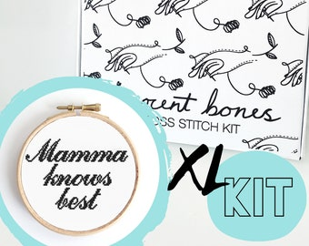 XL Mamma Knows Best Modern Cross Stitch Kit - easy chart design mother baby shower maternity gift positive good vibes embroidery kit