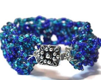 Crochet Bracelet Blue and Seafoam Mermaids Delight