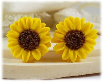 Sunflower Earrings Stud or Clip On - Sunflower Jewelry