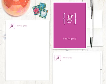complete personalized stationery set - your NAME your INITIAL MONOGRAM - personalized monogrammed stationary set - note cards - notepad