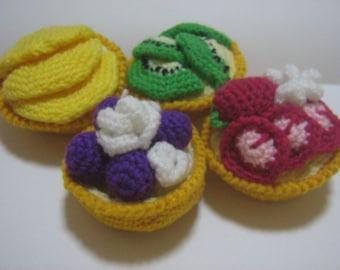 Crochet Food Pattern Tart Crochet Pattern PDF Instant Download Very Fruity Tarts (Peach/Kiwi/Blueberry/Strawberry)