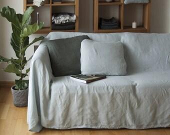 Linen Couch Cover, Linen Bedspread, Natural Sofa Cover, Linen Couch Throw, Large Linen Coverlet, Pure Linen Bedding, Linen Bed Cover