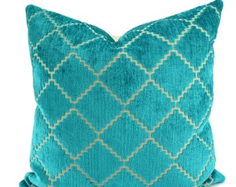 Turquoise & Beige Cut Velvet Throw Pillow Cover, Velvet Pillow Cover, Lagoon Velvet Pillow Cover