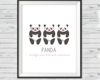 "Panda nursery art, Instant download, 8x10"", Panda wall art, Modern nursery art, Panda nursery, Panda prints, girl nursery art, panda art"
