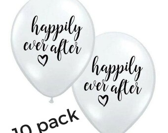 10x Balloons Happily Ever After Wedding Engagement Bachelorette Hen's Party Bridal Shower Decorations Black & White 28cm