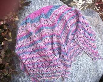 Beaded Cotton Candy Handknit Lacey Wool Shawl