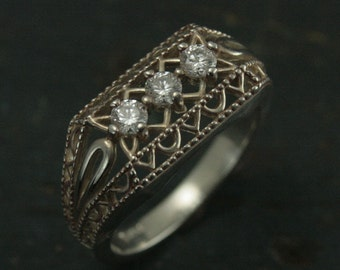 Chantily Lace--Antique Style Anniversary Ring--Three Stone Ring--Vintage Style Filigree Anniversary Band--Silver Filigree Ring