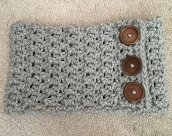 Crochet Cowl, Gray Cowl Scarf, Birthday Gift, Ready To Ship, Chunky Cowl Scarf, Chunky Crochet Cowl, Women's Cowl, Women's Gray Scarf