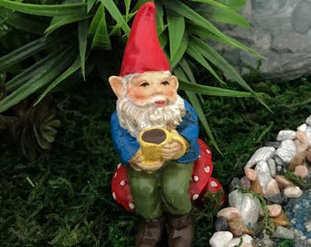 Miniature Gnome Soren with Cup of Coffee
