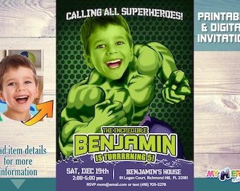 Turn your boy into Hulk! Hulk Birthday Party Invitation. Hulk Birthday ideas. Incredible Hulk Birthday Invite. Hulk Birthday Party. 089