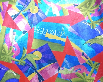 "Metallic Leather 12""x12"" Hawaii Print Multicolored Metallic Foil Cowhide 2 oz / .8 mm PeggySueAlso™"
