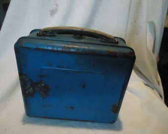 Vintage 1952 Hopalong Cassidy Blue Square Metal Lunch Box, NO THERMOS, Lunchkit, collectable