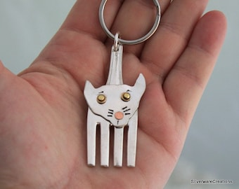 Silverware CAT KEY CHAIN - Silverware Jewelry, Silverware Key Chain, Vintage Silverware Pendant - Made in Usa