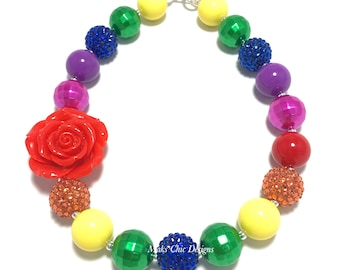 Toddler or Girls Chunky Rose Necklace - Rainbow Flower Necklace - Red, Orange, Yellow, Green, Blue, Purple, Pink Necklace - Rainbow Birthday