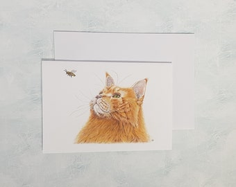 Cat and the Bee Greetings Card, Animal Print, Pet Art, Bee Art, Birthday Card for Her, Friendship Card, Whimsy
