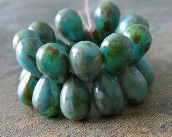 NEW Sea Green Picasso Czech Glass Teardrop 9x6mm Bead : 25 pc Green Tear Drop