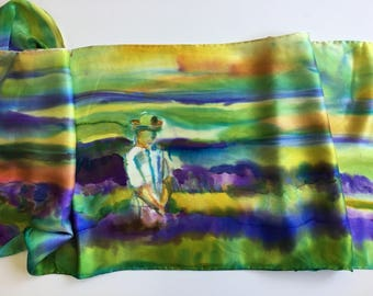 silk scarf, charmeuse, hand-painted, french lavender field, one of a kind