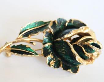 Rose brooch.  Green rose brooch. Vintage brooch. Enamel flower brooch.  Vintage jewellery