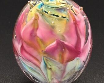 Bargain Bead - Pink Petals Flower Focal - Handmade Lampwork Beads SRA - DevonLynn Beads