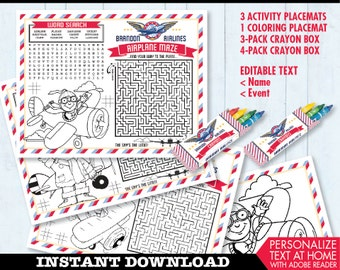 Airplane Party Placemat - Aviator Party, Plane Party, Activity Page, Crayon Box, Game Placemat - DIY Printable Kit INSTANT Download PDF