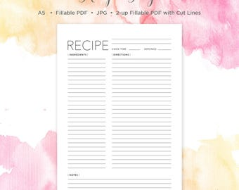 A5 Recipe Page | Recipe Page | A5 | Recipe Book | Recipe Card | Recipe Binder | Recipe Sheet | Printable Recipe Page | Blank Recipe Book