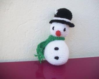crocheted wool snowman