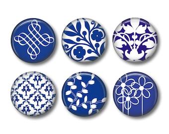 China Blue pinback button badges or fridge magnets, fridge magnet set