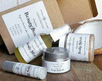 Organic Coconut Skin Care Set, Beauty Box, Natural Skin Care Gift Set, Coconut Beauty Treatments, Gift For Her, Womens Gift Set, Vegan