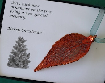 Copper Evergreen Leaf Ornament, Real Evergreen Leaf, Extra Large, Ornament Gift, Christmas Card, Happy Holiday Gift, First Christmas, ORNA43
