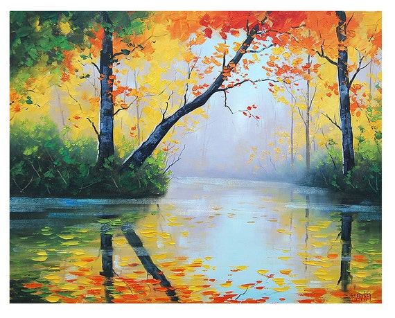 ORIGINAL OIL PAINTING River Impressionist Tree Vibrant Fall
