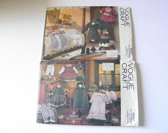 UNCUT s/2 Linda Carr Vogue Doll Collection Patterns 8337 8241 Early America Doll Clothes and Victorian Doll Clothes