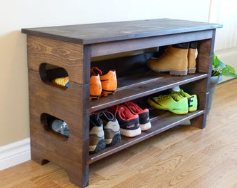 Entryway Stackable Shoe Rack with Top, Shoe Storage, Shoe Organizer, Shoe Cabinet, Shoe Rack Wood