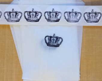 """CROWN BAGS + STICKER set of 10 / Gift Party Favor Packaging Set / Glassine Bags - Hand Stamped Crown Labels / 4 1⁄2 x 6 3⁄4"""""""