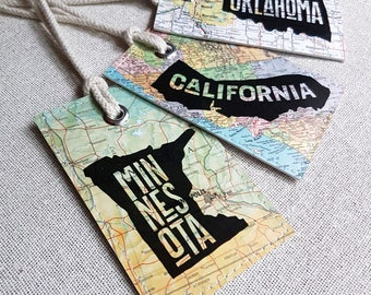 1 Custom state luggage tag made with original maps