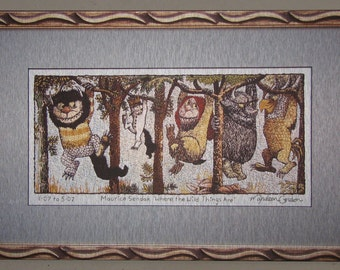 Where The Wild Things Are, Maurice Sendak, print, of hand embroidered original, on brushed aluminum, 12x19