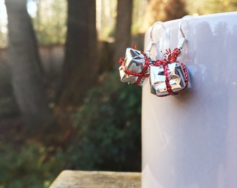 SALE ITEM--Metallic Wrapping Paper Present Earrings