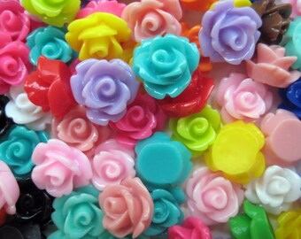 50 Pcs - 10mm Rose Cabochons - Assorted Colours