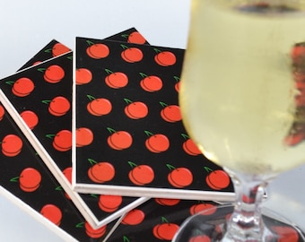Ceramic Tile Coasters - Rockabilly Cherry