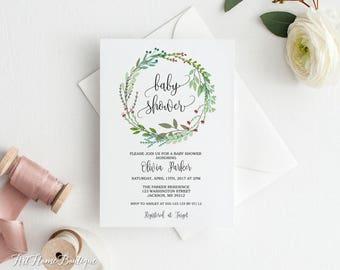 Baby Shower Invitation, Garden Baby Shower Invitation, Watercolor Baby Shower Invite, #BS04