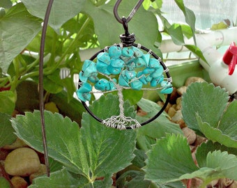 Tree of Life Pendant: Turquoise Wirewrapped