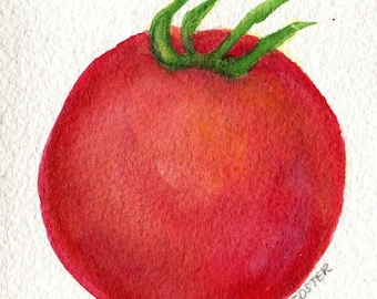 Tomato watercolors paintings original, Tomato painting, small kitchen decor, food art, tomato watercolor, tomato decor, illustration