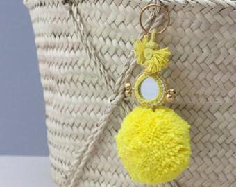 Pom Pom Mirror Keyring  || Tote Bag Charm || Various Colours
