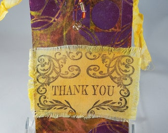 Mixed Media Tag, Thank You Tag, Gorgeous Dimensional Paint, Party Bag Tag, Altered Tag, Stenciled Tag, OOAK Tag, Glass Beads