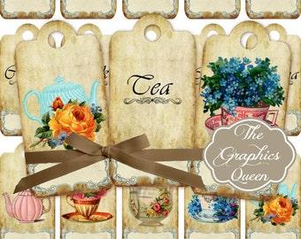 Shabbic Chic Vintage Tea Time Digital Tags Labels Tea Party Decorations Favor Tags Digital Graphics Tea Art Gift Tea Journal