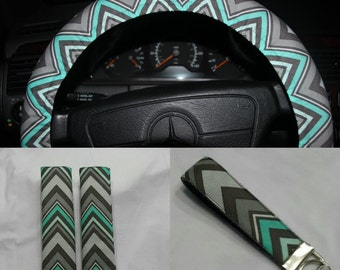 Chevron Wheel Cover - Steering wheel cover in mint and gray color  - Girls wheel cover -Car accessories.