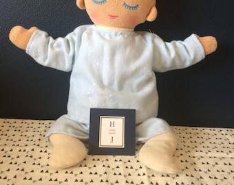 Light blue dandelion flanelette lulla doll pj's