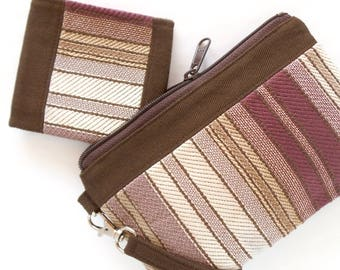 Small Bifold Wallet - Vegan Women's Wallet - Fabric Wallet - Brown Wallet